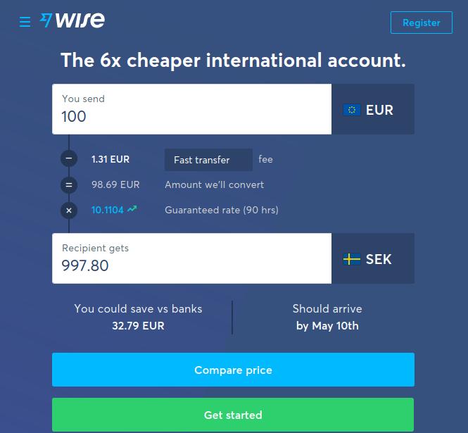 Wise buitenlandse betaling screenshot